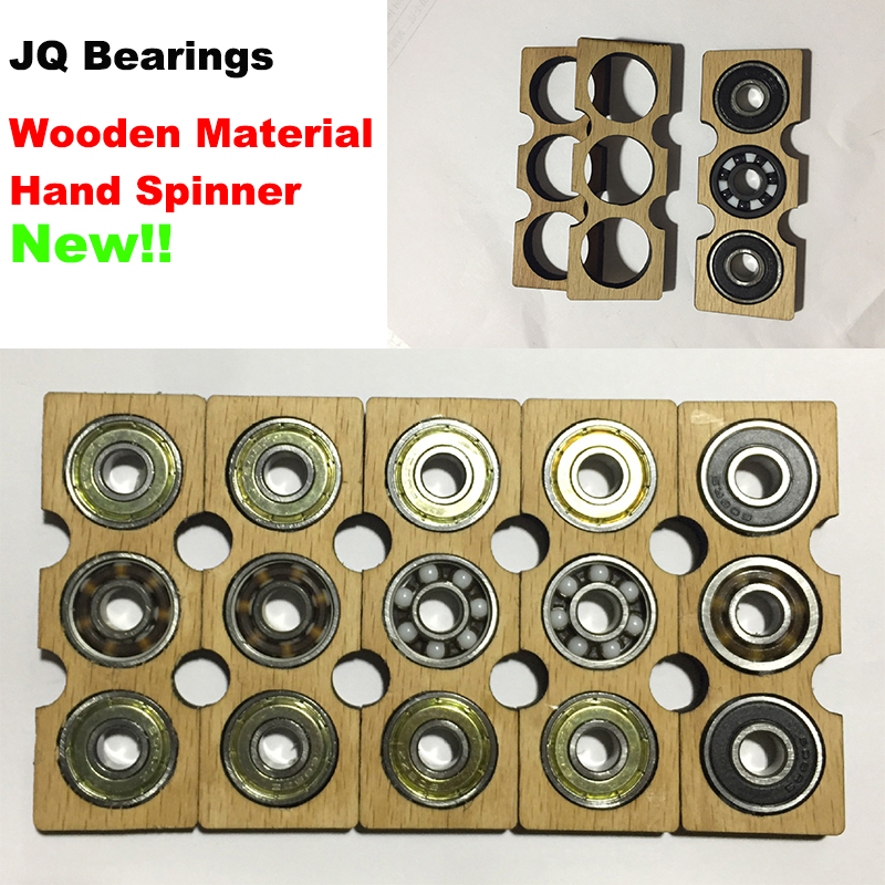 JQ Bearings EDC One Piece New Wooden Tri-Spinner Fidget Toy Hand Spinner