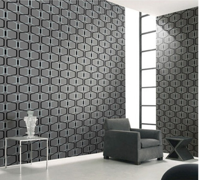 Designer Grey 3D Geometric Modern Velvet Wallpaper Textile Wallcoverings Roll Background Tv Wall Dark Gray Fine