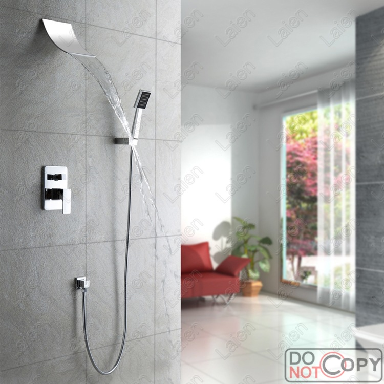 All copper waterfall shower faucet concealed waterfall faucet into the wall concealed shower shower