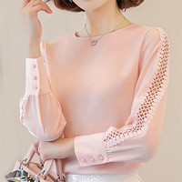 Spring Autumn Women Chiffon Blouse White Lace Hollow Out Blouses Female OL Long Sleeve Shirts Solid