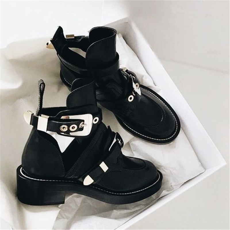 Punk Booties Buckle Straps Thick Heel Black Ankle Boots Cut Out Woman Metal Decoration Martens Cowboy Boots Shoes MotorcyclePunk Booties Buckle Straps Thick Heel Black Ankle Boots Cut Out Woman Metal Decoration Martens Cowboy Boots Shoes Motorcycle