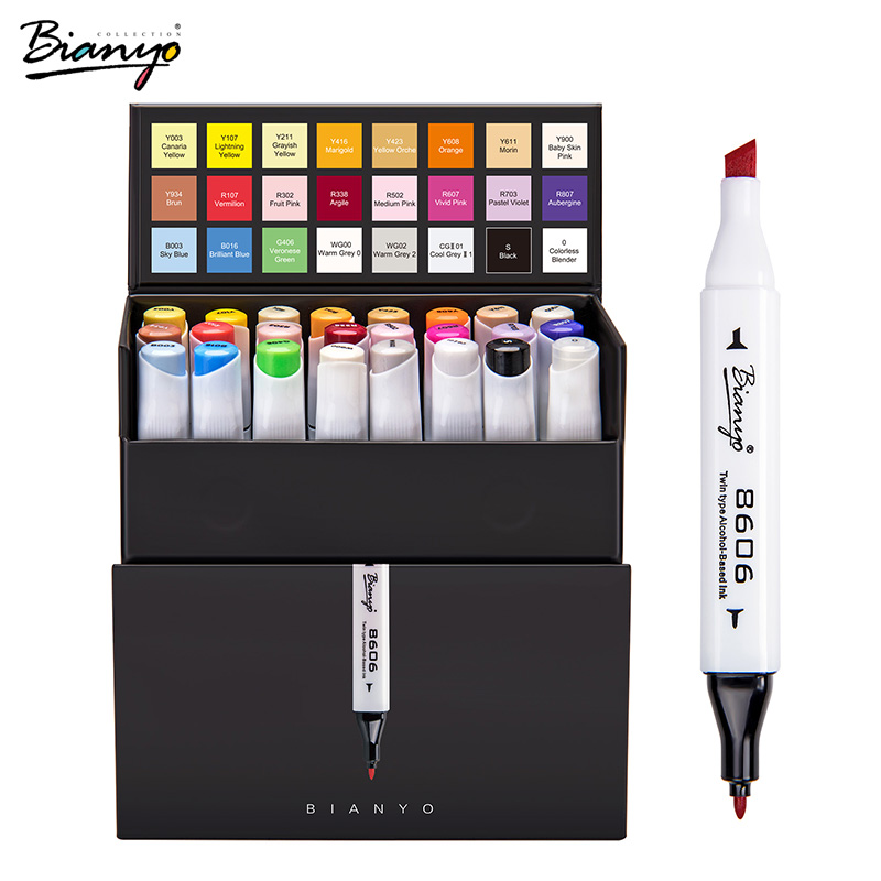 Bianyo 24 Colors Dual Tip Art Marker Sets Painting Drawing School Office Supplies Artists Professinal Design Markers Double Tip promotion touchfive 80 color art marker set fatty alcoholic dual headed artist sketch markers pen student standard