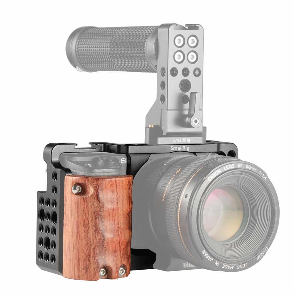 Smallrig A6300 Cage Rig W/Kayu Pegangan untuk Sony A6000/A6300 Kamera W/Dingin Sepatu untuk Mikrofon lampu Flash Pilihan DIY 2082