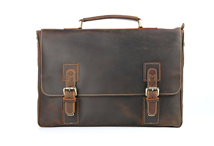 Vintage Crazy Horse Briefcases Men 100% Really Genuine Leather Messenger Bags 15