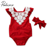 2pcs Short Petal Sleeve Lace Romper + Headband 0-24M