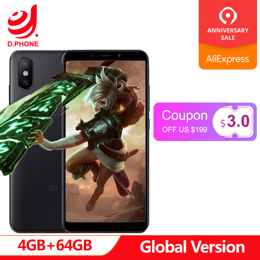 Version mondiale Xiao mi A2 4 GB 64 GB Android One Snapdragon 660 Octa Core 20.0MP AI double caméra 5.99