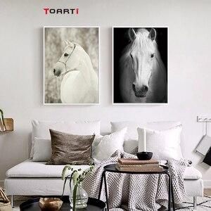 Image 5 - HD נורדי חיות כרזות הדפסי מודרני סוס בד ציור על קיר לסלון חדר שינה בית תפאורה שחור אמנות תמונות
