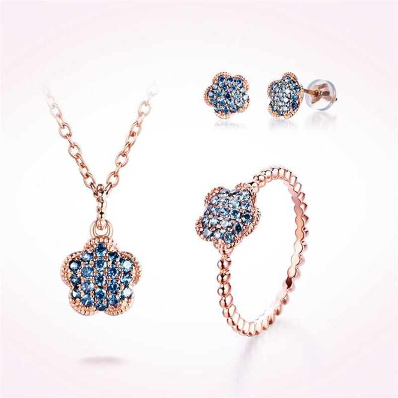 18K Gold Wedding Jewelry Crystal Pave Flower Finger Rings For Women New Lover Cubic Zirconia Ring Female Engagement Party Gifts in Rings from Jewelry Accessories