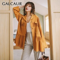 GALCAUR Vintage Ruched Solid Blazer For Women Lapel Long Sleeve Big Size Button Coat Female Fashion Clothes Summer 2019 New