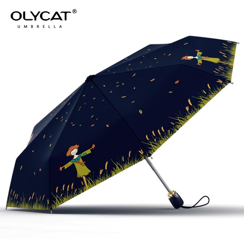 Модные Зонты дождь Для женщин пугало узор Anti UV качество автоматический зонт три складной зонтик для Обувь для девочек ветрозащитный
