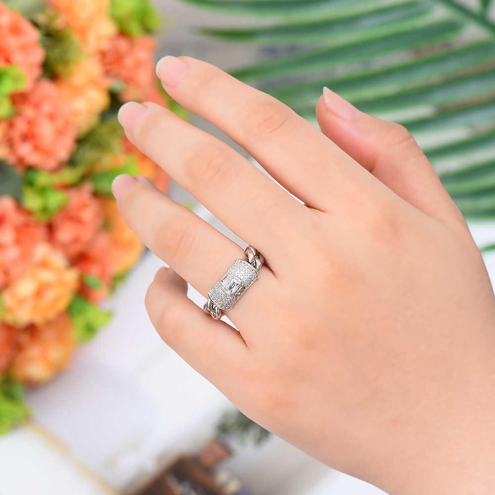 Missvikki Handgemachte Luxus Edle Mode Trend Kette Ring Romantische für Frauen Superstar Party Zeigen Braut Hochzeit Schmuck Ring