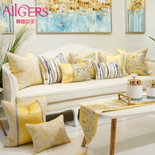 Avigers Yellow Cushion Covers Square Striped Patchwork Jacquard Pillow Cases Home Decorative for Car Sofa Bedroom цены