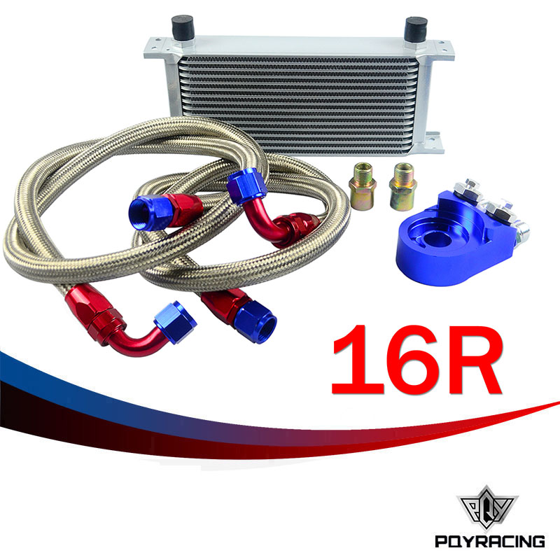 PQY RACING- AN10 OIL COOLER KIT 16 ROWS TRANSMISSION OIL COOLER SILVER+OIL FILTER  ADAPTER BLUE pqy store an10 oil cooler kit 25rwos transmission oil cooler silver oil filter adapter blue pqy3825b
