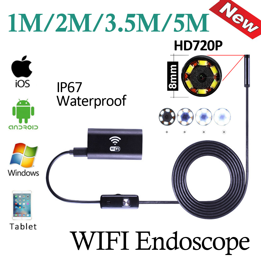 HD720P WIFI Endoscope Camera 5M/3.5M/2M/1M Android Mobile iPhone Wireless WIFI Snake Borescope Camera Pipe Inspection 8mm Lens 2017 new 8led 7m hard flexible snake usb wifi android ios iphone endoscope camera iphone borecope pipe inspection hd720p camera