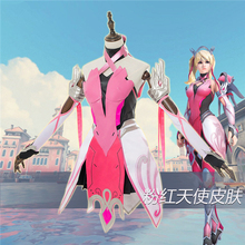 Anime Hot Game OW Mercy Pink Angela Ziegler Fighting Uniforms Cosplay Costume Full Sets  C