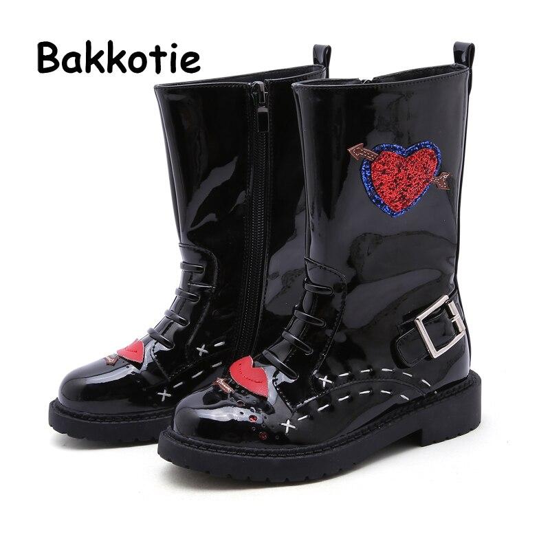 Bakkotie 2018 New Autumn Baby Girl Fashion Pu Leather High Boots Children Heart Black Shoes Kid Brand Glitter Soft Martin Boots