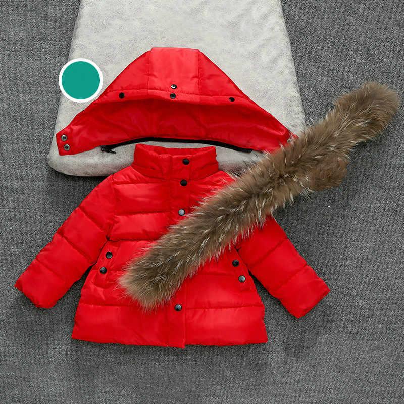 Crianças Meninas Meninos Rússia Inverno Pele Real 1-10Y Engrossado Para Baixo Parkas Com Capuz Brasão Jacket Sobretudo Roupa Do Bebê Crianças Outerwear
