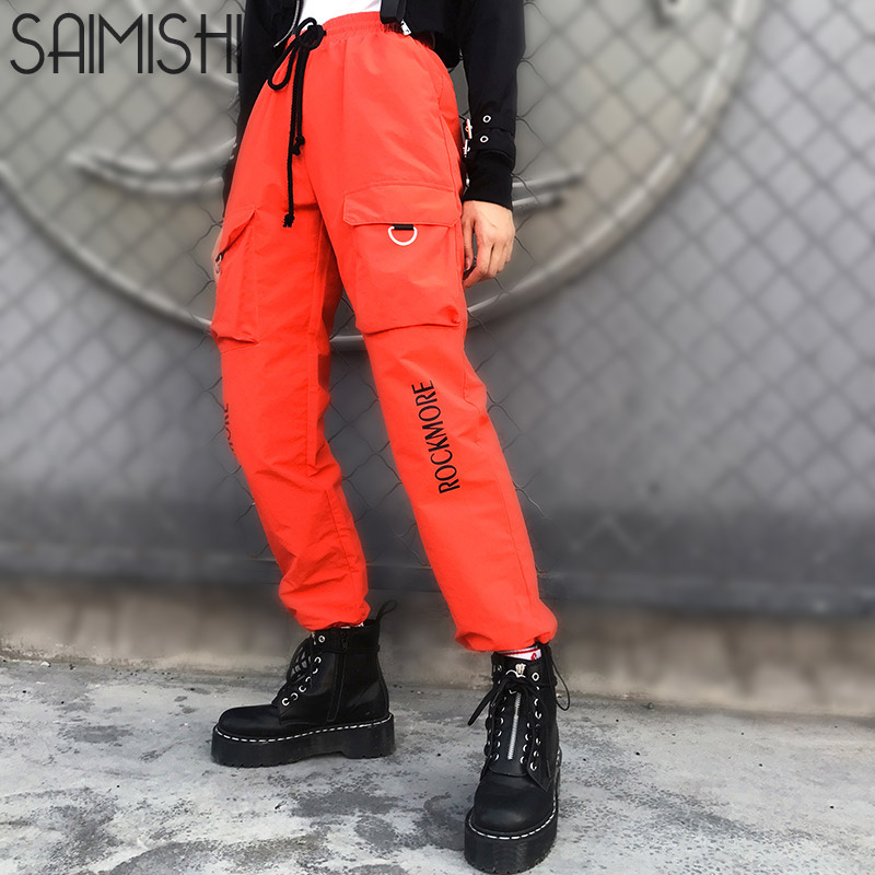 Saimishi Elastic High Waist   Pants   Women Letter Printed Harem   Pants     Capris   Streetwear Ladies Trousers Pockets Joggers Women