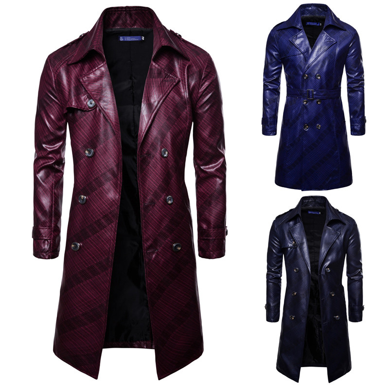 Plus size men double breasted leather   trench   coat long sleeve striped sashes mens PU long jacket manteau homme plus size S-3XL