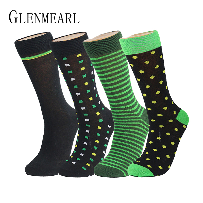 Cotton Men Socks Brand Business Spring Fall Plus Size Compression Coolmax Striped Point Funny Happy Dress Male Socks