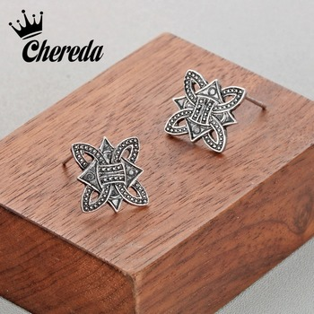 Chereda Men's Geometric Norse Viking Stud Earring for Men Male Vintage Earrings Slavic Fashion Ear Studs Birthday Present image