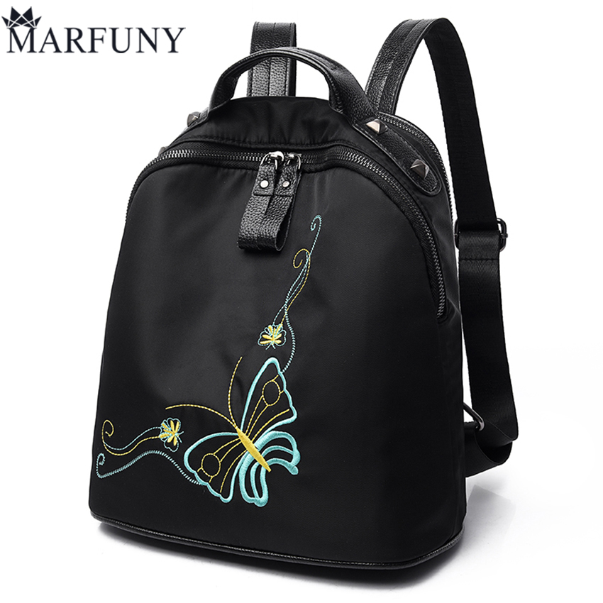 National Embroidery Backpack Fashion Butterfly Women Bag Oxford Backpacks For Teenage Girls Hot Sale Black Women