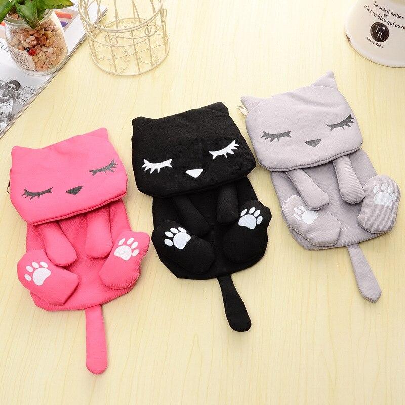 1 pcs Cute 3D cat canvas long Zero wallet children Clutch lady girl boy zipper Wallet women Pocket Pouch Bag Keys coin bag Case