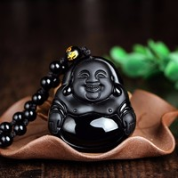 High Quality Natural Black Obsidian Carved Buddha One Lucky Amulet Pendant Necklace Pendants, Jades Jewelry For Men