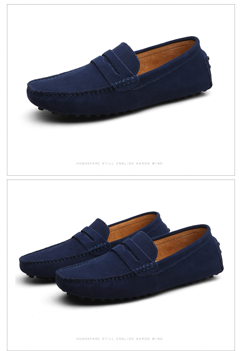 Soft Moccasins Men Loafers Genuine Leather Shoes Men Flats Gommino Driving Shoes,01 Navy,10