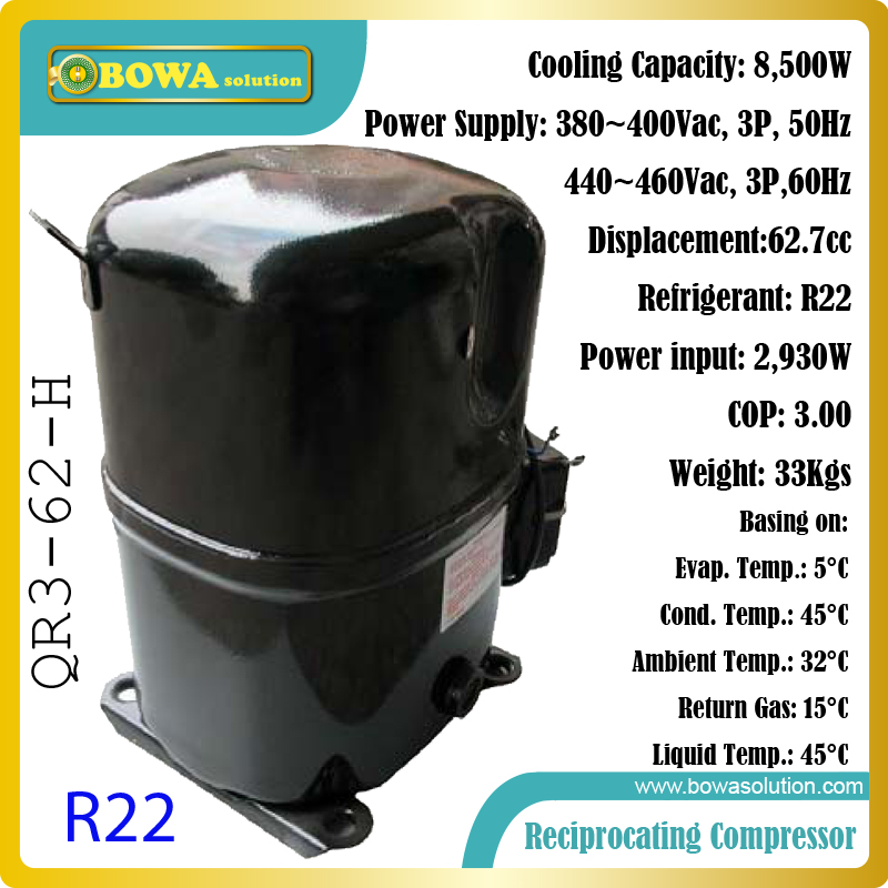 8.5KW cooling capacity 380Vac, 3P, hermetic reciprocating compressor suitable for fridge equipments or fridge units and systems 620w cooling capacity fridge compressor r134a suitable for commerce chest display or mobile cooler