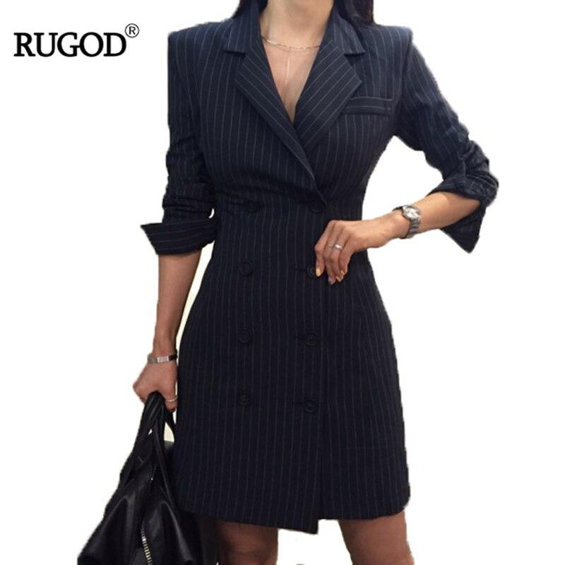 RUGOD 2018 nueva oficina señora manga larga profesión mujeres vestido imperio recto rayas doble botón Turn-down Collar Mini vestido