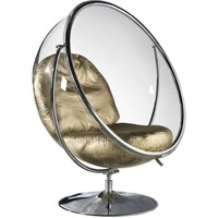 U BEST Clear Hanging Ball Bubble Chair With Stand in Silver/golden Cushion