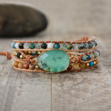 Эксклюзивные новые женские браслеты из натурального камня, бусины из лавы, 3 нити, кожаный браслет, браслеты из бисера, женские браслеты, Прямая поставка