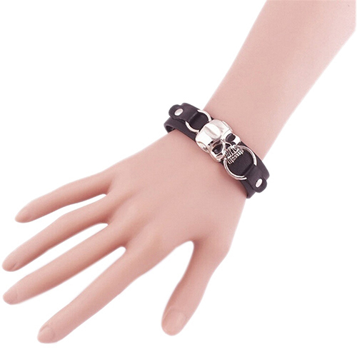 Faux Leather Skull Bracelet