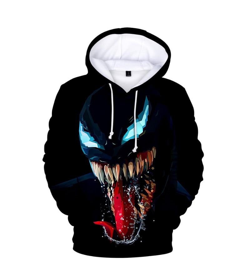 Comic Venom Hoodie Sweatshirts Men Superhero Anime Cool Black Autumn Winter Tops Plus Velvet Warm Hoody Couple Hip Hop Pullovers (4)