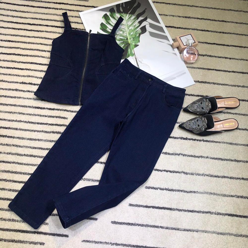 2019 ladies fashion suit small suspender waist shirt ➕ slim jeans 2 sets 0610