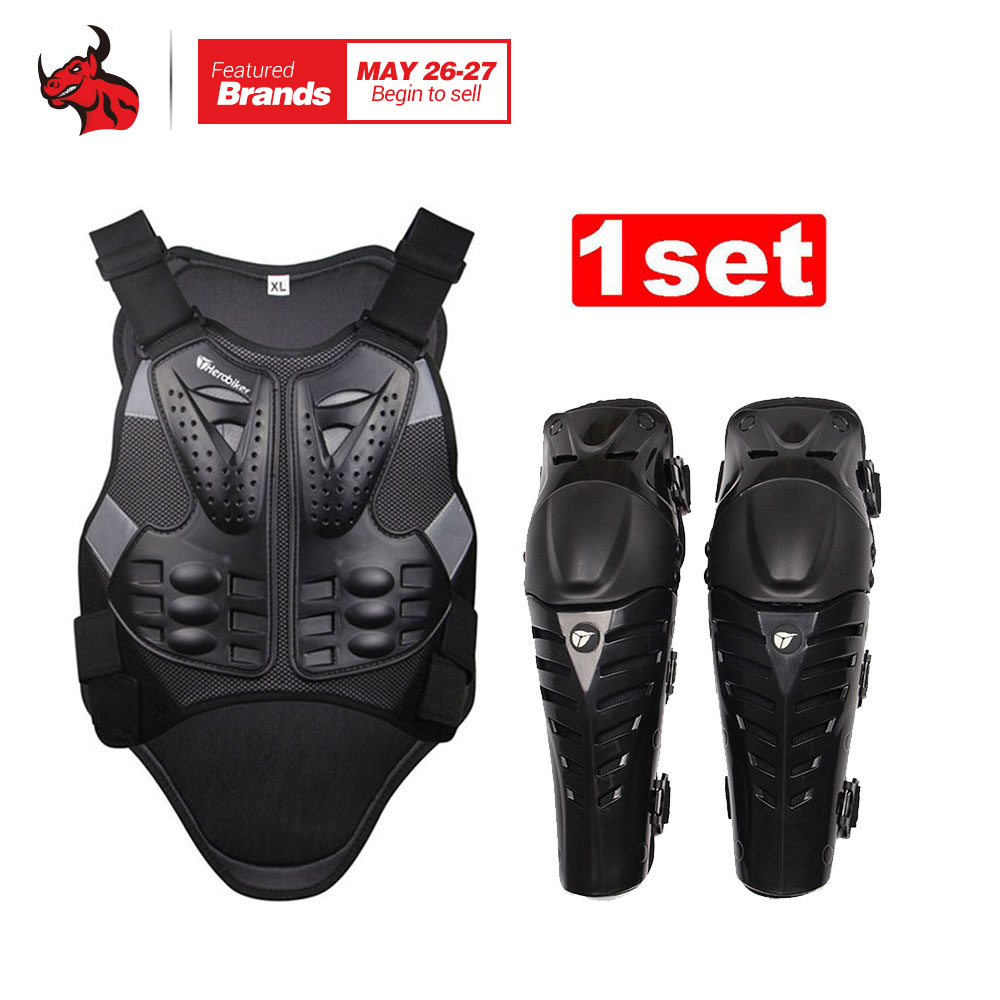 HEROBIKER Motorcycle Motocross Chest & Back Protector Armor Vest Racing Protective Body-Guard Armor+ Motocycle Knee Pad