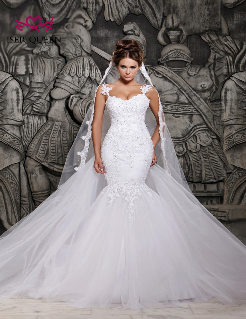 Lace appliques Crystal Beading Wedding Dresses Sexy Illusion Back African Mermaid Wedding Dress 2020 Pure white Plus Size W0014