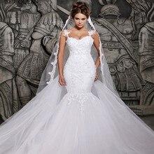 Apliques de renda cristal beading vestidos de casamento ilusão sexy volta branco puro plus size africano sereia vestido de casamento w0014