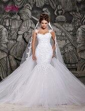 Robe de mariée sirène en dentelle, robe de mariée sirène Sexy, avec des appliques en dentelle, Illusion au dos, blanche Pure, grande taille, W0014, 2020