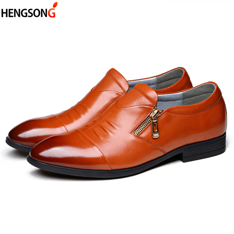 2018 New Men Dress Shoes Zipper Leather Luxury Fashion Groom Wedding Shoes Men Oxford Business Shoes Size 38-44 OR915626