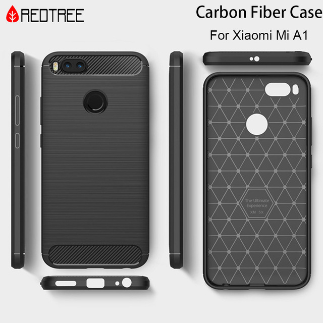 Redtree Brushed Silicone Carbon Fiber Cases for Xiaomi Mi A1 Mi5X Shockproof Soft TPU Smartphone Case for Xiaomi A1 Mi 5X Case