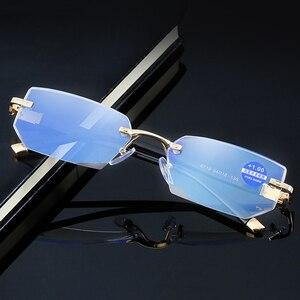 Image 5 - Anti Blue Ray Computer Rimless Reading Glasses Aspherical 12 Layer Coated Lenses Business Hyperopia Prescription Eyeglasses