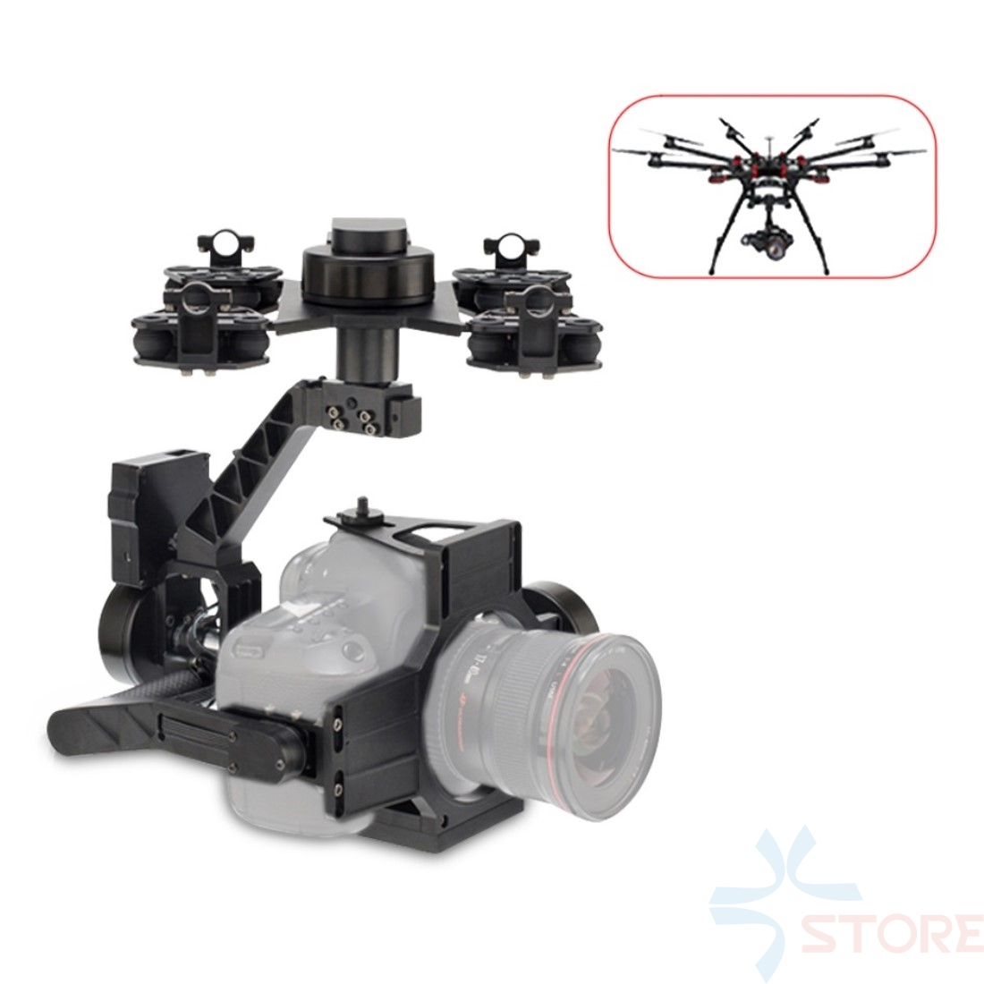 Aerial Photography 3-Axis UAV Gimbal Camera Mount for Video Film DSLR Canon 5D3 Nikon D800 GH4 Sony A7 / NEX5 A5100 6000 A7S цена