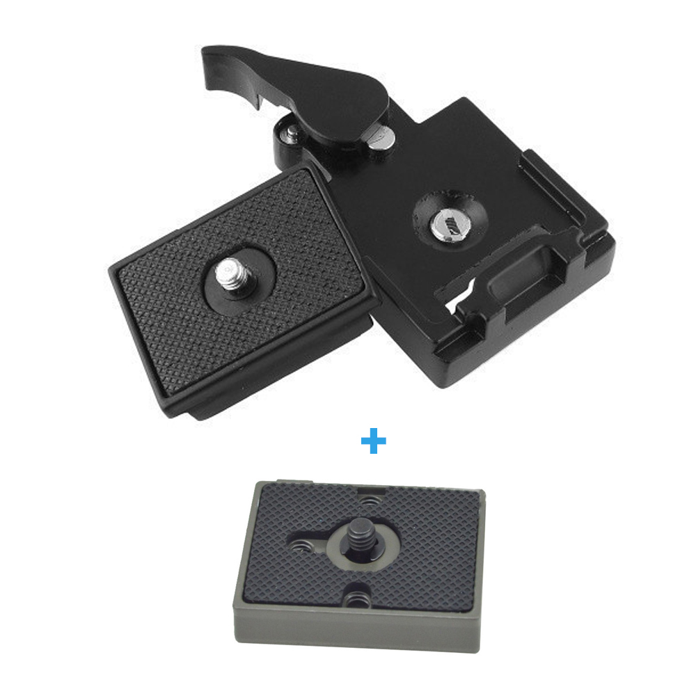 Quick Release Clamp Adapter For Camera Tripod with Manfrotto 200PL-14 Compat Plate BS88 HB88 with 2 Quick Release Plate