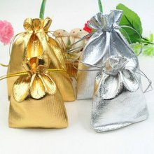 10pcs/lot Silver Color Gold Color Metallic Foil Cloth Pouches Christmas Tree Decorations(China)