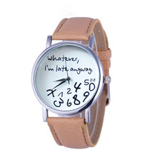 Mance Whatever I am Late Anyway Letter Pattern Leather Men Women Watches Fresh N