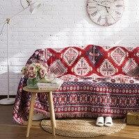 European Red Geometry Throw Blanket Sofa Decorative Slipcover Cobertor on Sofa/Beds/Travel Plaid Non slip Stitching Blankets
