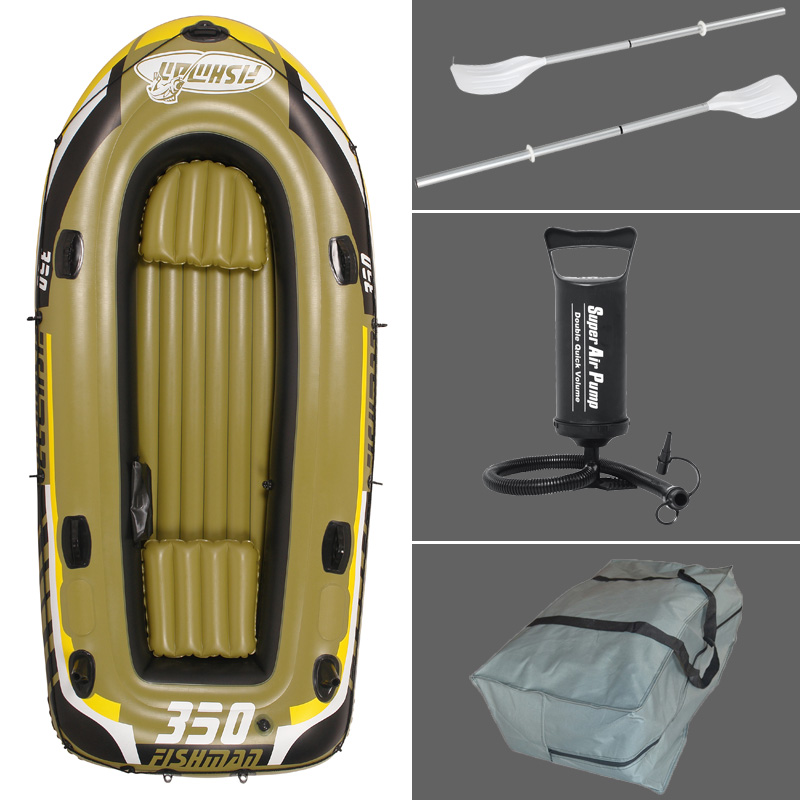 3+1 Person 305*136*42cm thick fishing boat inflatable boat kayak dinghy raft accessory canoe alumnium oar paddle pumpA06008 2
