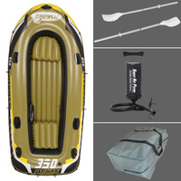 Fishman 3 Person Fishing Boat 305 136 42cm Inflatable Boat A Pair Of 127cm Alumniumoars 1